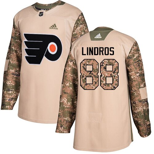 Youth Philadelphia Flyers #88 Eric Lindros Adidas Camo Authentic Veterans Day Practice NHL Jersey