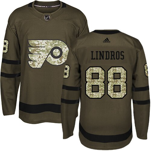 Youth Philadelphia Flyers #88 Eric Lindros Adidas Green Authentic Salute To Service NHL Jersey