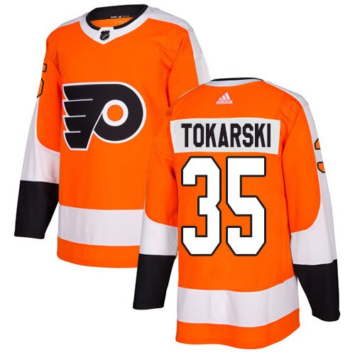 Men's Philadelphia Flyers #30 Dustin Tokarski Adidas Orange Home Premier NHL Jersey