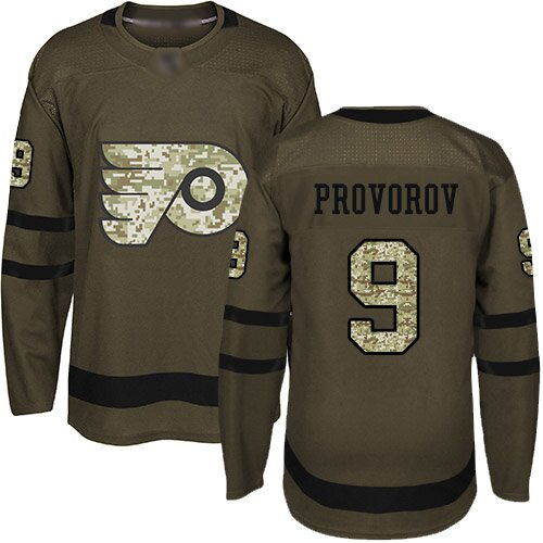 Youth Philadelphia Flyers #9 Ivan Provorov Green Authentic Salute To Service Hockey Jersey